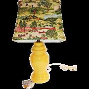 Rare Vintage 1940s Yellow Pottery Lamp with Original Old Checkered House GRANDMA MOSES Barkcloth