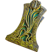 19th Century to 1900 Rare Apollo Studios Antique Arts and Crafts Art Nouveau Period Bronze Green Slag Glass Desk Letter Paper Clip