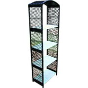 Mid Century Modern HENRY LINK Vintage 1960s Rustic Rattan Wicker Metal Bookcase Bakers Rack Shelves Plant Garden Stand