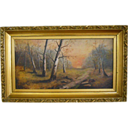 Antique 1890s Impressionist Landscape Painting Signed Victorian to Arts & Crafts Plein Air Oil on Board Sunset Wooded Autumn Trees Painting