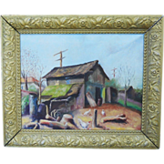 Vintage 1930s WPA Oil Canvas Painting Rural Works Progress Industrial Depression Folk Art