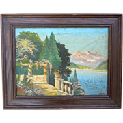 1930s Italy Impressionist Mountain Lake Landscape Painting Listed Giuseppe Leoni Signed Plein Air Oil on Canvas Painting