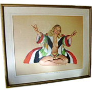 Mid Century Hollywood Regency Vintage 1947 Pop Art RARE Signed Al Moore Original Esquire Girl Nude Pin Up Print - Welcome Change - Chest Without Drawers