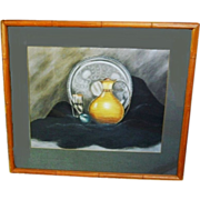 Mid Century Modern Art Deco Still Life Charcoal Pastel Painting Vintage 1940s Hollywood Regency Signed R.E. Mills in Bamboo Frame