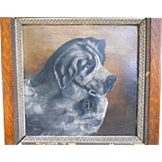 19th Century 1893 Victorian Antique Dog Portrait Oil Painting Folk Art