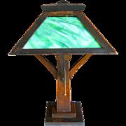 Mission Fumed Oak Green Slag Glass W. B. Brown 1912 Desktop Lamp