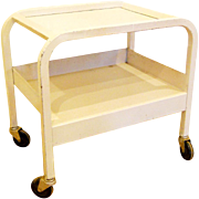 Vintage 1920s-30s Art Deco White Medical Laboratory Bar Cart Stand