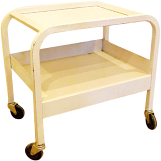 Vintage 1920s-30s Art Deco White Medical Laboratory Bar Cart Stand