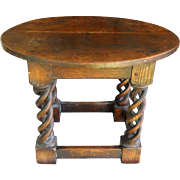 17th Century French Oak Torsade Spiral Twist Antique Pub Tavern End Table