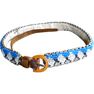 Native American Beaded Dog Collar Belt or Hat Band