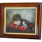 19th Century Susan Catherine Moore Waters Cavalier King Charles Spaniel Antique Dog Portrait Oil Painting