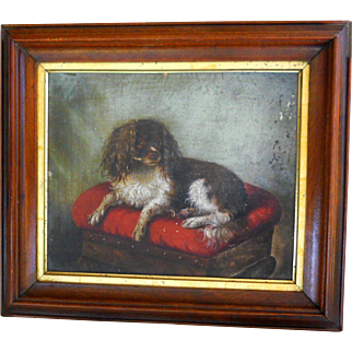19th Century Susan Catherine Moore Waters Cavalier King Charles Spaniel Dog Portrait Oil Painting