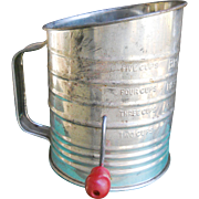Bromwell's Vintage Kitchen Red Handle Flour Sifter
