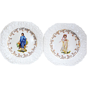 Boy Blue & Pinky Square Porcelain Serving Plate Set Lord Nelson Pottery