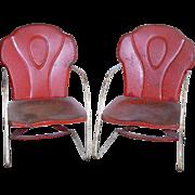 Childrens Metal Lawn Garden Chair Set 1950s