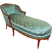 Louise XV Bergere Chair Chaise Lounge Down Cushion DayBed Emerald Green Silk
