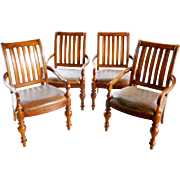 Spanish Revival Bernhardt Rustic Leather Cherry Wood Club Arm Chairs
