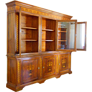 Late 20th Century Marquetry Bibliotheque French Country Breakfront Library Bookcase Store Display