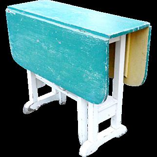 1900s Farmhouse Primitive Painted Folding Drop Leaf Gate-Leg Trestle Table