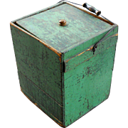 Early Green Painted Lidded Storage Box Tote Rare 19th C Antique Country Pine Primitive
