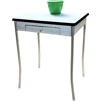 White Porcelain Enamel Top Pine Kitchen Table Chrome Legs