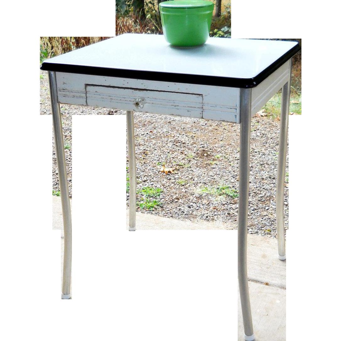 White Porcelain Enamel Top Pine Kitchen Table Chrome Legs From Sirgunnisonsfarm On Ruby Lane