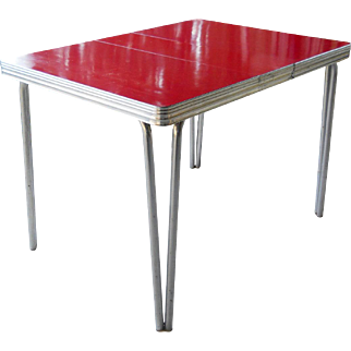 Mid Century Modern 1950s Cherry Red Formica Kitchen Table
