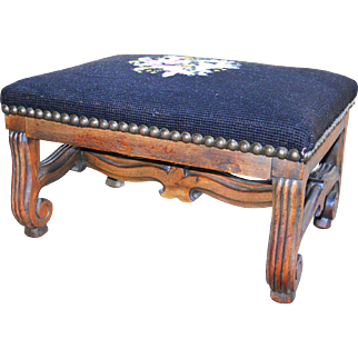Antique 1870 Carved Walnut Needlepoint Footstool Victorian Black Floral Louise XV Bergere