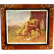 Baby Chicks Oil Canvas Painting 19th Century