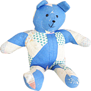 Vintage 1940s Handmade Quilted Blue Tattered Polka Dot Stuffed Teddy Bear