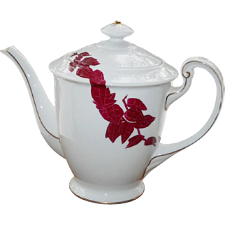 Japanese Aesthetic Porcelain Teapot Vintage 1940s -50's Hand Painted Burgundy Red Bamboo