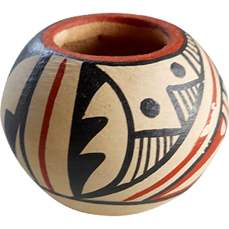 Vintage Native American Miniature New Mexico Jemez Pueblo Signed Pottery Bowl