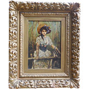 Antique Dog with Victorian Girl Portrait 19th century Oil Painting