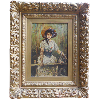 19th century Dog with Victorian Girl Portrait Oil Painting