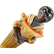 Figural Alligator Celluloid Black Americana Memorabilia Pencil Page Turner Desktop Accessory Letter Opener