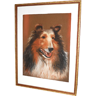 Original Collie Dog Pastel Drawing Portrait Painting