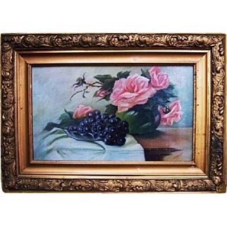 Nyquist Antique Pink Floral Roses Grapes Still Life Victorian Oil Painting