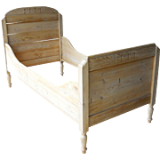 Antique Victorian 1880-1910 Swedish English French Pine Children's Youth Sleigh Rail Panel Bed