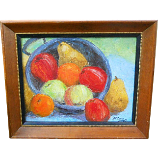 P. Coey 1969 Mid Century Modern Bold Fruit Still Life Oil Painting