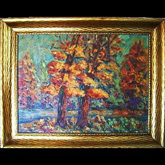 Florence Morris 1920s Impressionist Landscape Arts & Crafts Oil Painting