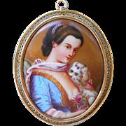 Antique Lady with Dog Portrait Brooch Pendant Hand Painted Porcelain