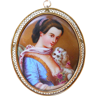 Antique Lady with Dog Portrait Brooch Pendant Hand Painted Porcelain