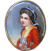 Antique Girl with Dog Portrait Brooch Pendant Hand Painted Porcelain