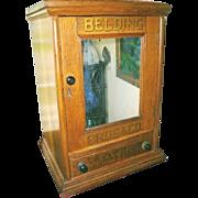Rare 1870's Victorian Antique Oak Belding Bros Spool Dry Goods Country Mercantile Cupboard