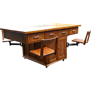 Rare Antique Early 1900s Sheldon Industrial Oak Maple Laboratory Table