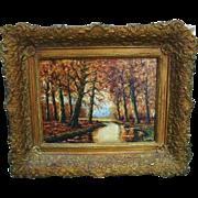 Antique Impressionist Landscape Oil Painting Signed Plein Air Autumn Forest Stream