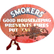 Smokers Good Housekeeping Prevents Fires Vintage 1950s Metal Sign