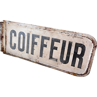 French Metal White Black COIFFEUR Beauty Shop Store Street Sign Plaque