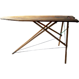 Rustic Wooden Ironing Board Rare Iron Sole Plate Primitive