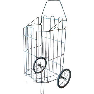 1920s Folding Rustic Wire Shopping Grocery Market Pull Wheel Cart